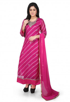 Embroidered Pure Kota Silk Straight Cut Suit in Fuchsia