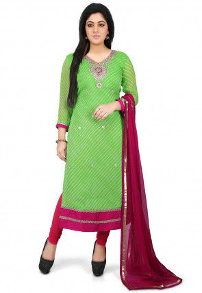 Leheriya Pure Georgette Straight Cut Suit in Green