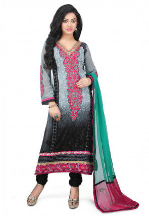 Embroidered Georgette Straight Suit in Shaded Grey and Black