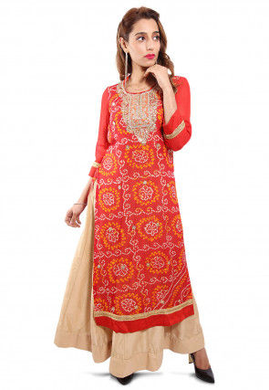 Embroidered Neckline Pure Chinon Crepe Abaya Style Suit in Red