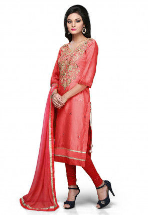 Embroidered Cotton Chanderi Straight Suit in Coral