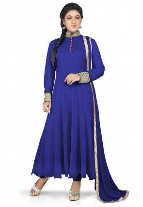 Plain Georgette Anarkali Suit in Royal Blue