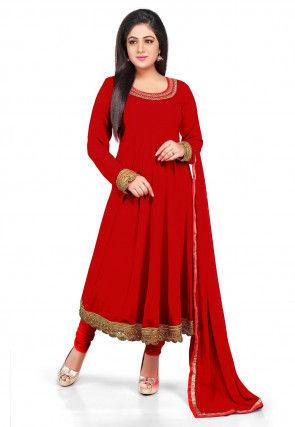 Plain Georgette Anarkali Suit in Red