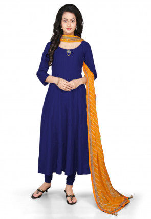 Plain Cotton Silk Anarkali Suit in Dark Blue