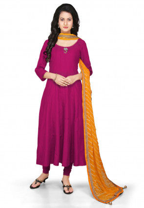 Plain Cotton Silk Anarkali Suit in Magenta