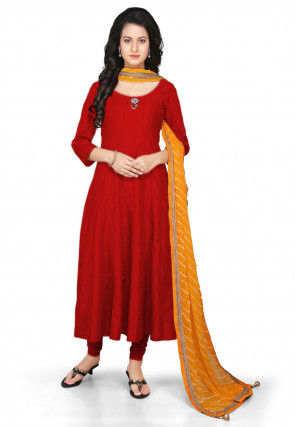 Plain Cotton Silk Anarkali Suit in Red
