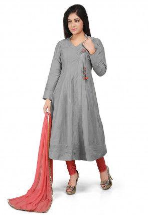 Plain Cotton Silk Angrakha Style Anarkali Suit in Grey