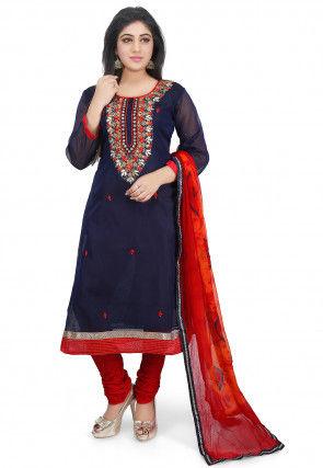 Hand Embroidered Chanderi Cotton Straight Suit in Dark Blue