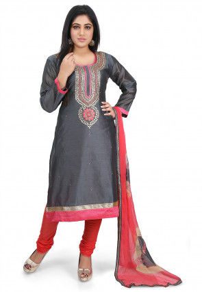 Hand Embroidered Chanderi Cotton Straight Suit in Dark Grey