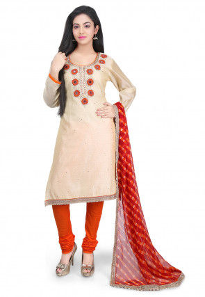 Hand Embroidered Chanderi Cotton Straight Suit in Beige