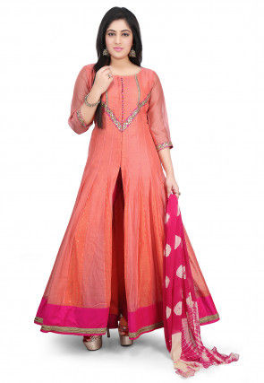 Plain Chanderi Cotton Abaya Style Suit in Peach