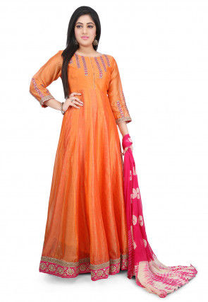 Embroidered Chanderi Cotton Abaya Style Suit in Orange