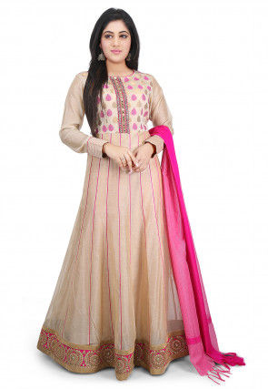 Plain Chanderi Cotton Abaya Style Suit in Beige
