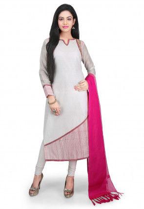 Plain Chanderi Cotton Straight Cut Suit in Off White