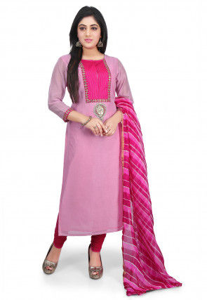 Plain Chanderi Cotton Straight Cut Suit in Pink