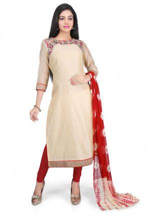 Plain Chanderi Cotton Straight Cut Suit in Beige