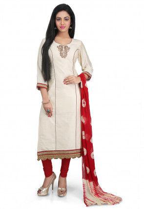 Plain Cotton Silk Straight Cut Suit in Off White