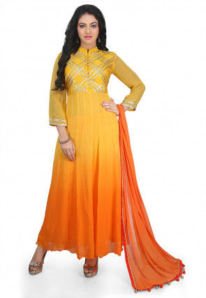 Embroidered Dupion Silk Abaya Style Suit in Yellow and Orange