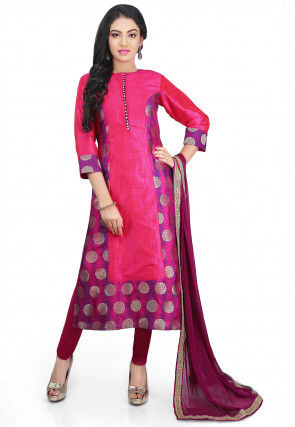 Woven Art Silk Straight Cut Suit in Fuchsia