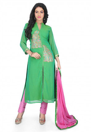 Embroidered Georgette Straight Cut Suit in Green Dual Tone