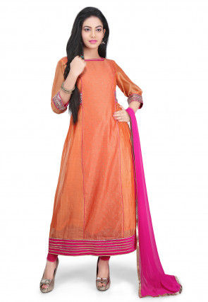 Printed Chanderi Cotton A Line Suit in Orange