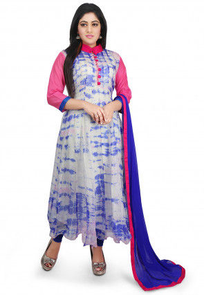 Pure Kota Silk Tie Dyed Anarkali Suit in Off White