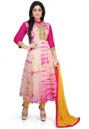 Pure Kota Silk Tie Dyed Anarkali Suit in Beige and Fuchsia