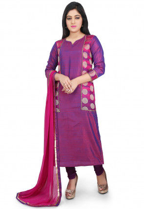 Woven Art Silk Straight Suit in Magenta