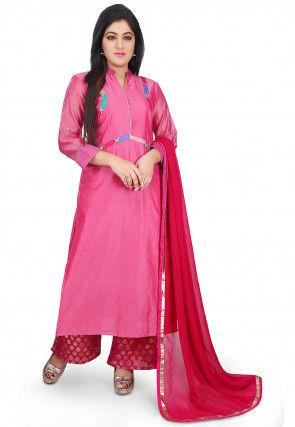 Plain Chanderi Cotton Pakistani Suit in Pink
