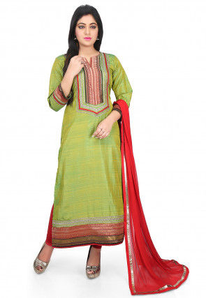 Plain Art Silk Straight Suit in Green