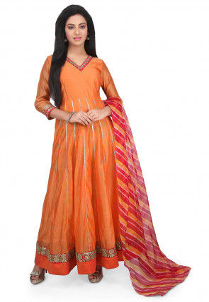 Plain Chanderi Cotton Abaya Style Suit in Orange