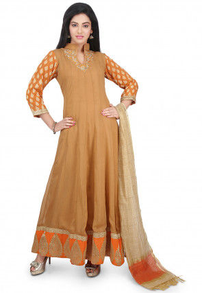 Plain Georgette Abaya Style Suit in Beige