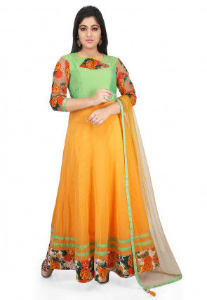 Plain Georgette Abaya Style Suit in Yellow and Pastel Green