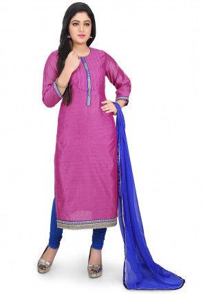 Plain Chanderi Cotton Straight Suit in Fuchsia