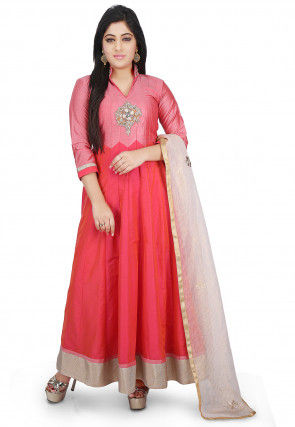 Plain Cotton Silk Abaya Style Suit in Fuchsia and Coral