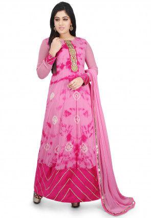 Printed Georgette Abaya Style Suit in Pink
