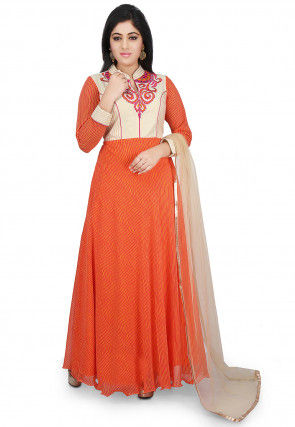 Printed Georgette Abaya Style Suit in Orange and Off White