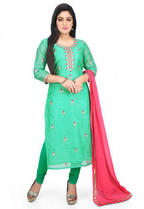 Embroidered Chanderi Cotton Straight Suit in Sea Green