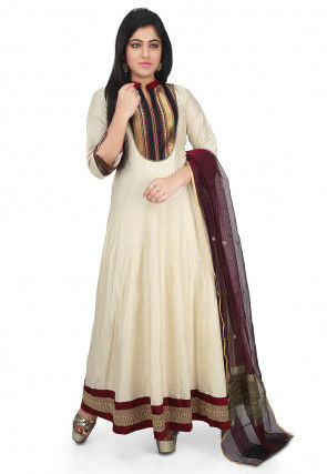 Plain Cotton Silk Abaya Style Suit in Cream