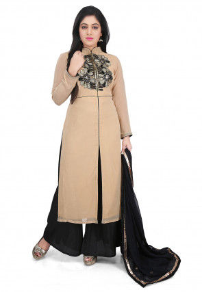 Hand Embroidered Georgette Front Slit Pakistani Suit in Beige