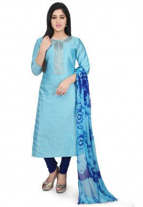 Plain Cotton Silk Straight Suit in Sky Blue
