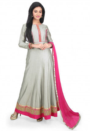 Embroidered Border Cotton Silk Abaya Style Suit in Grey
