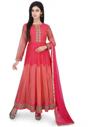 Embroidered Yoke Chanderi Silk Abaya Style Suit in Fuchsia