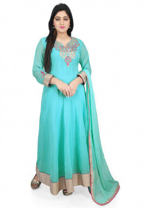 Embroidered Neckline Georgette Abaya Style Suit in Turquoise