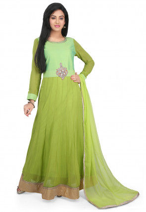 Hand Embroidered Georgette Abaya Style Suit in Light Green