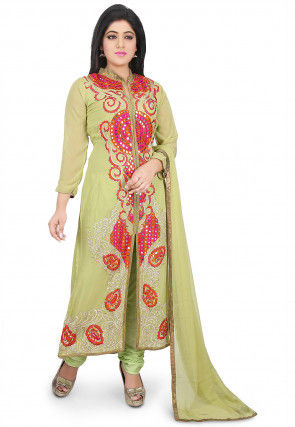 Embroidered Georgette Straight Cut Suit in Pastel Green