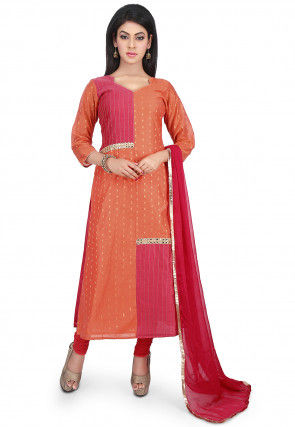 Woven Chanderi Cotton Straight Suit in Peach