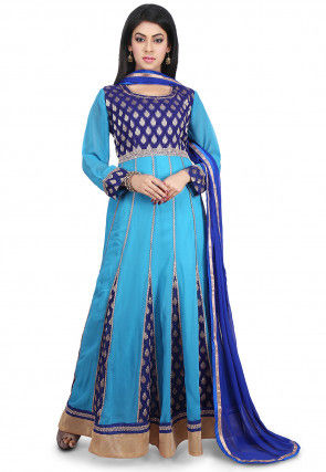 Woven Georgette Abaya Style Suit in Blue