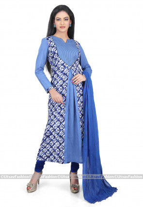 Batik Printed Cotton A Line Suit in Blue