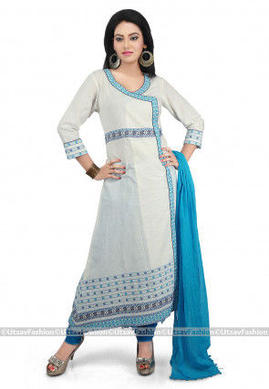 Printed Cotton Angrakha Style Suit in Off White